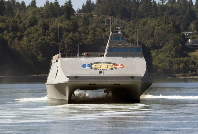 The US Navy SEA FIGHTER (FSF-1), X-Craft, a high-speed aluminum catamaran, underway outside the Port Of Everett. The SEA FIGHTER will evaluate the hydrodynamic performance, structural behavior, mission flexibility, and propulsion system of high-speed vessels. The X-Craft will test a variety of technologies, which will allow the Navy to operate more effectively in littoral or near-shore waters