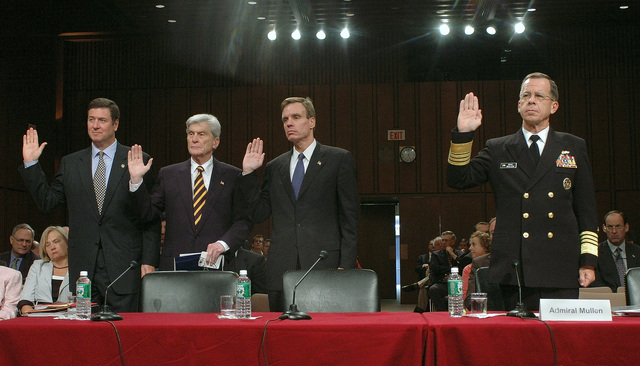"Taking an oath before presenting testimony at the Defense Base Realignment and Closure Commission, regarding the future of the US Navy's (USN) East Coast MASTER Jet Base at Naval Air Station Oceana, Virginia (VA), are: Virginia Senators George Allen (R-VA) (left) and John Warner (R-VA), Virginia Governor Mark R. Warner (D) and USN Admiral (ADM) Michael ""Mike"" G. Mullen, CHIEF of Naval Operations (CNO)"