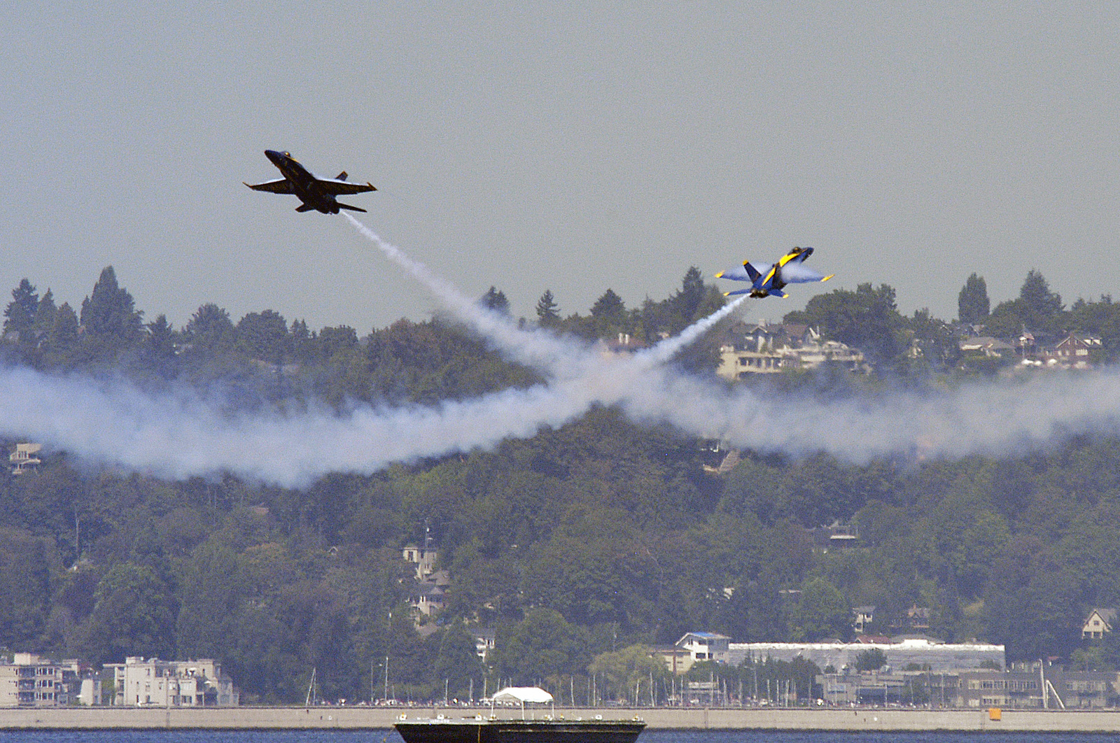 US Navy (USN) Blue Angels lead and opposing solo pilots, in