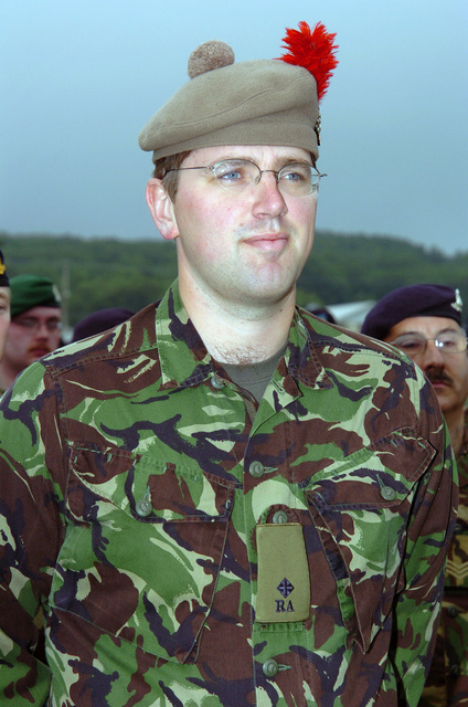A British Territorial Army Soldier participates in the Annual Training Parade marking the end of the 2005 Annual Training Exercise (ATE) at Camp Grayling, Michigan (MI). (A3596)