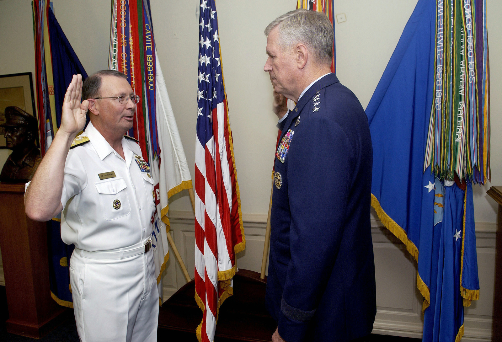 US Navy (USN) Admiral (ADM) Edmund P. Giambastiani (left), is administered the oath of office as Vice Chairman of the Joint Chiefs of STAFF (VCJCS) by US Air Force (USAF) General (GEN) Richard B. Myers, Chairman of the Joint Chiefs of STAFF (CJCS), during a ceremony at the Pentagon