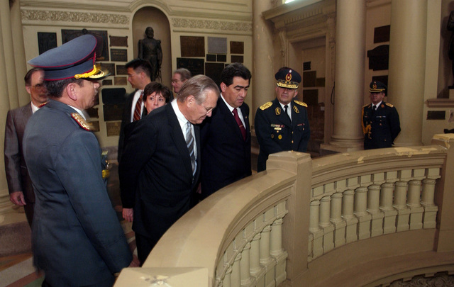 The Honorable Donald H. Rumsfeld, Secretary of Defense, receives a tour by senior Paraguay (PRY) officials of the Pantheon of Heroes building in Asuncion, Paraguay (PRY), on Aug. 17, 2005.  The Pantheon is the site of the Paraguay Tomb of the Unknown Soldier.  Secretary Rumsfeld is touring parts of Latin America to discuss bilateral military cooperation in the region.  (DoD photo by TECH. SGT. Kevin J. Gruenwald) (Released)