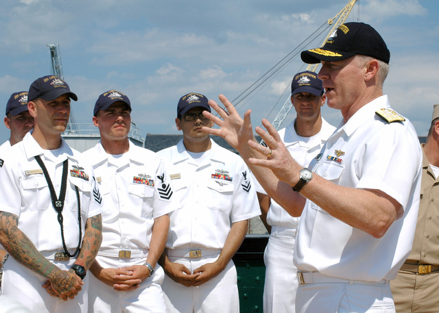 US Navy (USN) Admiral (ADM) Robert F. Willard, Vice CHIEF of Naval Operations (VCNO), speaks to crewmembers of USS CONSTITUTION (Old Ironsides) during a visit to the 207-year-old ship
