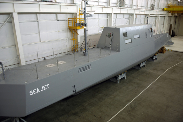 The Advanced Electric Ship Demonstrator (AESD), Sea Jet, funded by the Office of Naval Research (ONR), a 133-foot vessel located at the Naval Surface Warfare Center Carderock Division, Acoustic Research Detachment in Bayview, Idaho (ID). Sea Jet will operate on Lake Pend Oreille, where it will be serve as a model representing a destroyer size surface ship to test and demonstrate various technologies. Among the first technologies tested is an underwater discharge water jet from Rolls-Royce Naval Marine, Inc., called AWJ-21, a propulsion concept with the goals of providing increased propulsive efficiency, reduced acoustic signature, and improved maneuverability over previous Destroyer...
