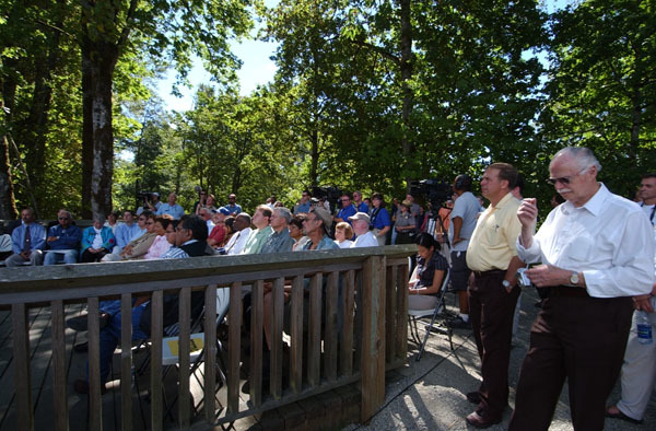 Audience listening to speeches at ceremony at the Nisqually National Wildlife Refuge, Olympia, Washington, marking 20 years of federal-local cooperative conservation of the Nisqually River Watershed
