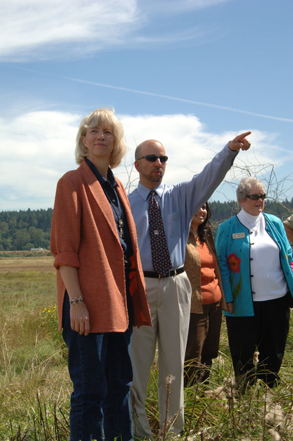 Photograph, from coverage of Secretary's visit to Nisqually Tribe wetlands restoration site and Nisqually National Wildlife Refuge, Olympia, Washington, selected for use in preparation of Department of Interior video on tenure of departing Secretary Gale Norton