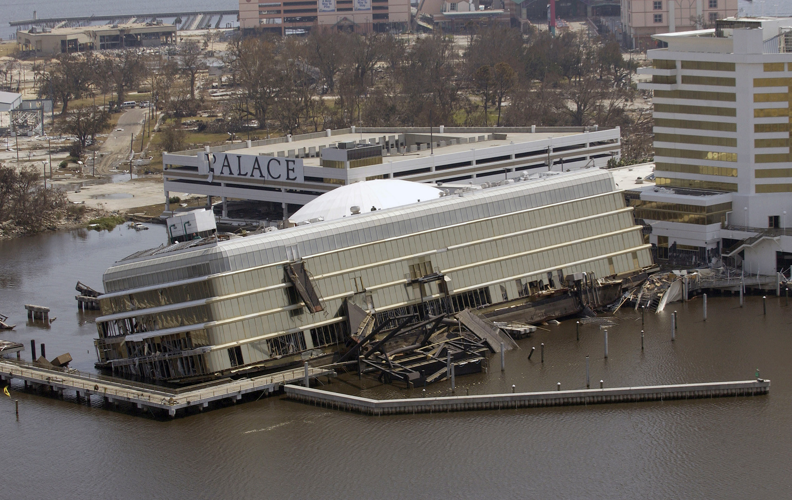 A View Showing The Damage To The Riverboat Casino Valance In