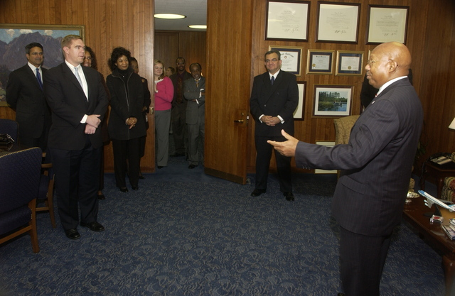 Swearing-in Ceremony for Assistant Secretaries - Secretary Alphonso Jackson, staff at swearing-in proceedings for Keith Nelson (Assistant Secretary for Administration), Darlene Williams (Assistant Secretary for Policy Development and Research), Kim Kendrick (Assistant Secretary for Fair Housing and Equal Opportunity), and Keith Gottfried (General Counsel), HUD Headquarters