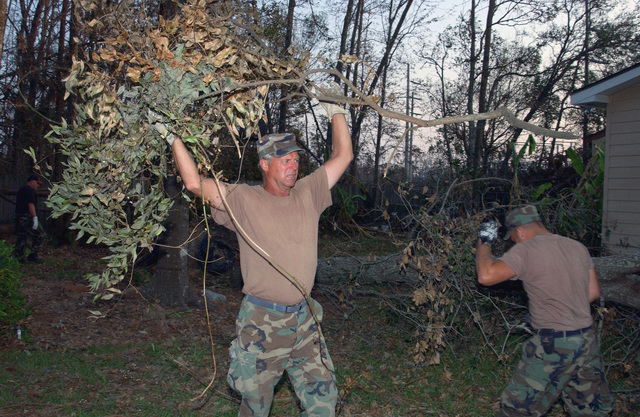 North Dakota Air National Guard (NDANG) MASTER Sergeant (MSGT) Donald Purser, 119th Fighter Wing (FW), Hector Field (FLD), North Dakota (ND), clears damaged trees from the yard of a Waveland, Mississippi (MS) home following the devastation left behind by Hurricane Katrina