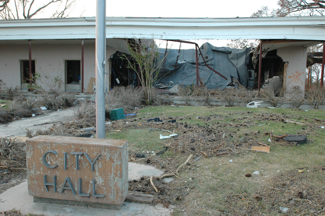 [Hurricane Katrina] Pass Christian, Miss., September 14, 2005 --  The City Hall of Pass Christian was destroyed in the storm. Hurricane Katrina caused extensive damage all along the Mississippi gulf coast.  FEMA/Mark Wolfe