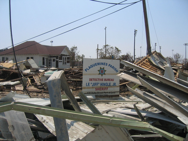 Hurricane/Tropical Storm - Plaquemines Parish, La. , September 14, 2005 -- A 25 foot storm surge from Hurricane Katrina wiped out the original Plaquemines Parish detention center and Sheriff's offices. It was a single story, 800-bed structure. It was declared 98% destroyed, making it eligible for replacement funding under FEMA's Public Assistance program.  The new detention center is being built back on the same 70-acre original site and will have the same inmate holding capacity, but is being built 18 feet above the ground.  This is being done to meet the elevation standards required by the new Digital Flood Information Rating Maps. Photo by FEMA/Manuel Broussard.