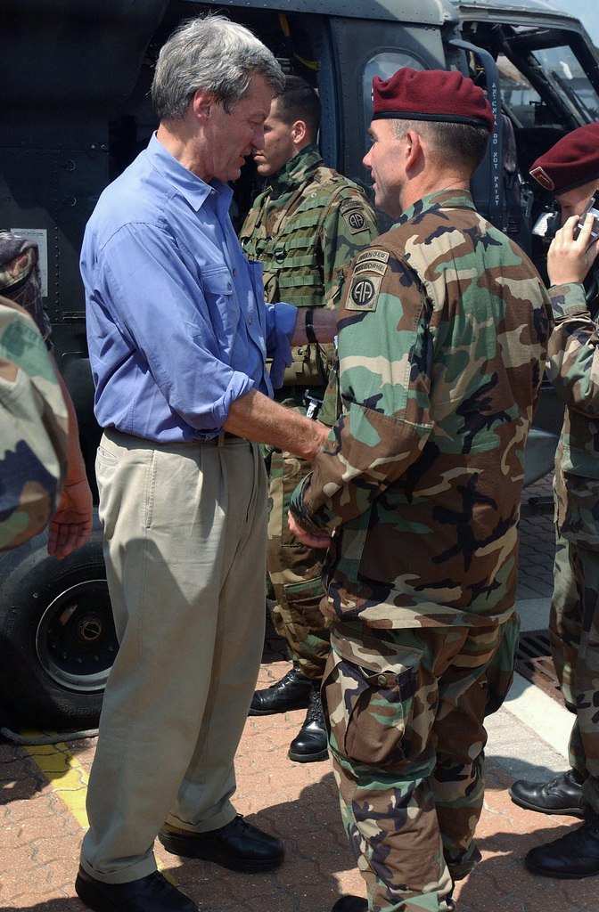 US Senator Richard Shelby, Republican of Alabama (AL), shakes hands with US Army (USA) Major General (MGEN) William Caldwell, Commander of the 82nd Airborne Division (AD). He congratulates the General on a great job, during the relief efforts in and around New Orleans in support of Task Force Katrina