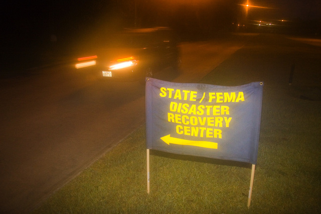 [Hurricane Katrina] Houston, TX, September 23, 2005 -- Signs on local roads direct disaster victims to the local (Disaster Recovery Center) or DRC.  Houston houses thousands of evacuees from New Orleans.  Photo by Ed Edahol/FEMA