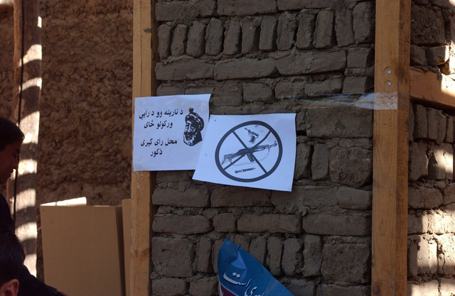 A sign outside of a polling station in Moraqkhja, Afghanistan prohibits weapons in the polling area during the Afghan parlamentary elections, Sept. 18, 2005. (U.S. Army photo by STAFF SGT. Ken Denny) (Released)