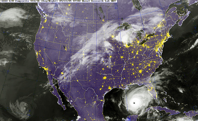 A GOES-12 (Geostationary Satellite Server) Satellite infrared image provided by the US Naval Research Laboratory, Monterey, California (CA), shows the status of Hurricane Rita at 3:30 AM EST. Rita, currently 490 miles southeast of Galveston, Texas (TX), upgraded to a Category 5 storm late Wednesday, September 21, 2005, with 170 mph winds, sparking an order for mandatory evacuations in New Orleans, Louisiana (LA), and Galveston, Texas (TX)