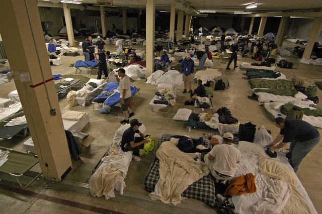 [Hurricane Katrina] Baton Rouge, LA, 9-20-05 -- Disaster workers and displaced workers from Hurricane Rita bed down for the night in this dorm. Many Disaster workers must live in dorms like this because the hotels are full and there is no other place to stay.  MARVIN NAUMAN/FEMA photo