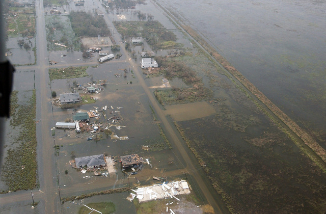 An aerial view showing floodwaters and destruction left in the aftermath of Hurricane Rita, in an area located near Galveston Bay, Texas (TX)