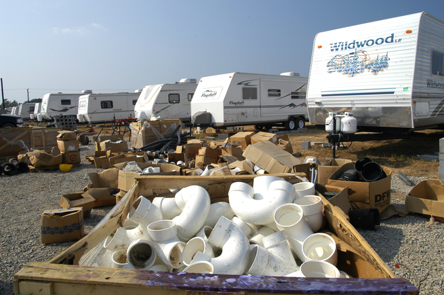 [Hurricane Katrina] Baker, LA, September 29, 2005 -- Plumbing connectors of many shapes and sizes await installation on the more than 550 units scheduled to be placed on this FEMA temporary housing site.  The Baker site is one of several being built to provide a place for those left homeless by Hurricane Katrina.  Win Henderson / FEMA