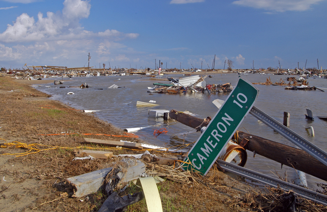[Hurricane Rita] Holly Beach, La., October 3, 2005 - Ten miles west of Cameron, La., this Gulfside community once alled home by 300 residents now lies in shambles.  Hurricane Rita destroyed numerous structures and severely damaged power and utility systems along a long stretch of Highway 27 in lower Cameron Parish.  Win Henderson / FEMA