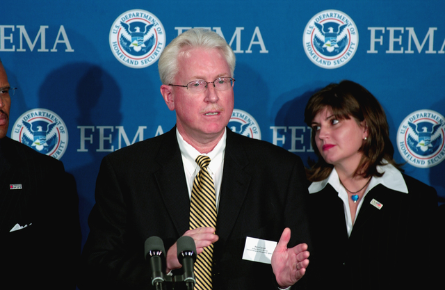 [Hurricane Katrina] Washington, DC, October 4, 2005 -- Dave Garratt, Acting Recovery Director of FEMA introduces the Project Hope delegation at FEMA headquarters.  Bill Koplitz/FEMA
