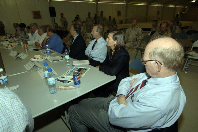 A view of the different ambassadors participating in a NATO convention at Kandahar Airfield, Afghanistan, Oct. 6, 2005. The purpose of the convention is to review the historic National Assembly Elections, the role ISAF (International Security Asisitance Forces) play in helping to bring about success and receive briefings on exceptional funding to support Deployed Operating Bases. (U.S. Army PHOTO by PFC. Leslie Angulo) (Released)