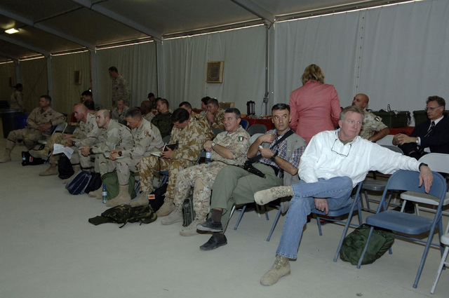 A view of the some of the participants during a NATO convention at Kandahar Airfield, Afghanistan, Oct. 6, 2005. The purpose of the convention is to review the historic National Assembly Elections, the role ISAF (International Security Asisitance Forces) play in helping to bring about success and receive briefings on exceptional funding to support Deployed Operating Bases. (U.S. Army PHOTO by PFC. Leslie Angulo) (Released)