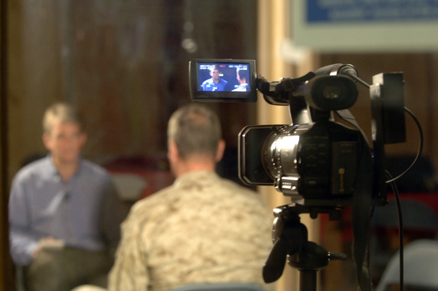 Nic Robertson from CNN interviews Marine Gen. James Jones (Supreme Allies Commander of Europe) SACEUR during a visit to Kandahar Airfield during a NATO convention in Afghanistan, Oct. 6, 2005. The purpose of the convention is to review the historic National Assembly Elections, the role ISAF (International Security Asisitance Forces) play in helping to bring about success and receive briefings on exceptional funding to support Deployed Operating Bases. (U.S. Army PHOTO by PFC. Leslie Angulo) (Released)