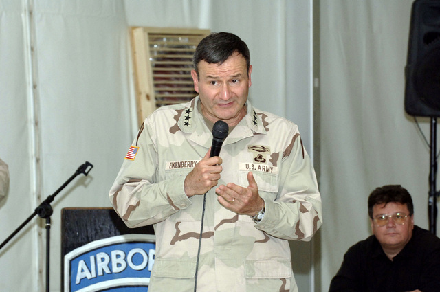 US Army (USA) Lieutenant General (LGEN) Karl Eikenberry, Commanding General (CG), Combined Forces Command Afghanistan (CFC-A), addresses NATO (North Atlantic Treaty Organization) member country ambassadors about the National Afghanistan Assembly elections and the role that the NATO-led International Security Assistance Forces (ISAF) played in bringing about success in Afghanistan at the NATO Conference held in Kabul, Kabul Province, Afghanistan (AFG), during Operation ENDURING FREEDOM