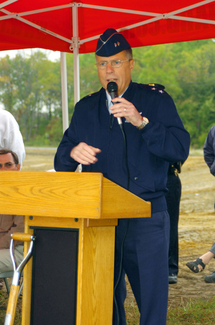 Major General (MGEN) Thomas G. Cutler, Adjutant General for the State of Michigan, addresses the gathering at a groundbreaking ceremony for the new Shiawasee Readiness Center in Corunna, MI. The Center will replace the current National Guard armory located in Owasso, MI and will be home to approximately 180 soldiers of the 144th Military Police Company (MP CO), Michigan Army National Guard (MIARNG)