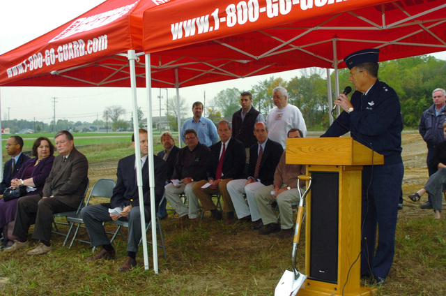 US Air Force (USAF) Major General (MGEN) Thomas G. Cutler, Adjutant General for the State of Michigan, addresses the gathering at a groundbreaking ceremony for the new Shiawasee Readiness Center in Corunna, MI. The Center will replace the current National Guard armory located in Owasso, MI and will be home to approximately 180 soldiers of the 144th Military Police Company (MP CO), Michigan Army National Guard (MIARNG)
