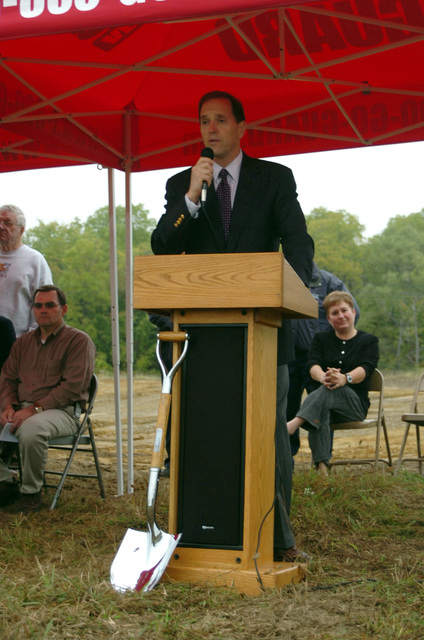 US Congressman Dave Camp (R-MI), Michigans 4th District, speaks to the gathering at a groundbreaking ceremony for the new Shiawasee Readiness Center in Corunna, MI. The Center will replace the current National Guard armory located in Owasso, MI and will be home to approximately 180 soldiers of the 144th Military Police Company (MP CO), Michigan Army National Guard (MIARNG)