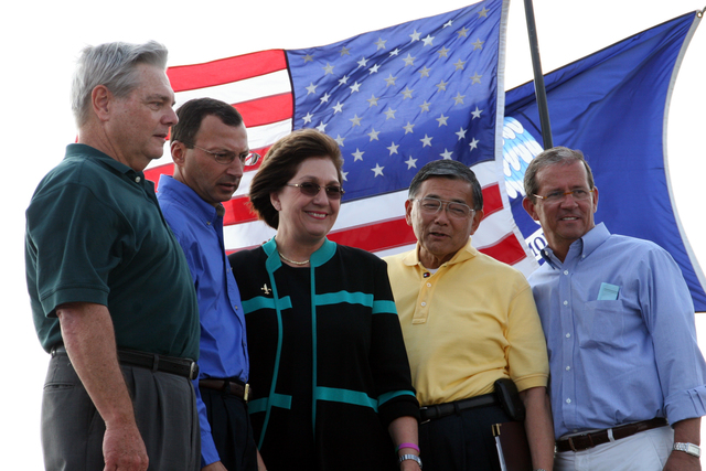[Hurricane Katrina] Slidell, LA, October 14, 2005 - (L to R) Al Flettrich, Bridge Division Manager-Boh Bros. Construction Co.; Johnny Bradberry, Secretary Louisiana Department of Transportation and Development; Kathleen Babineaux Blanco, Governor State of Louisiana; Norman Mineta, Secretary U.S. Department of Transportation and Kevin Davis, President of St. Tammany Parish at the ribbon cutting ceremony for the opening of the I-10 bridge. Robert Kaufmann/FEMA