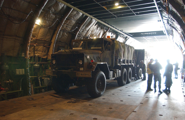 A US Army 212th Mobile Army Surgical Hospital (MASH) M939A2 (6 x 6) 5-ton cargo truck is driven into the open cargo area onboard a Volga-Dnepr Airlines Antonov AN-124-100 Condor cargo aircraft at Ramstein Air Base (AB), Germany (DEU) to be airlifted as part of the lead element of Task Force 212 (TF 212) into Pakistan (PAK) as part of a multinational humanitarian assistance effort in response to the 7.6 magnitude earthquake that hit Kashmir, Pakistan on October 8, 2005