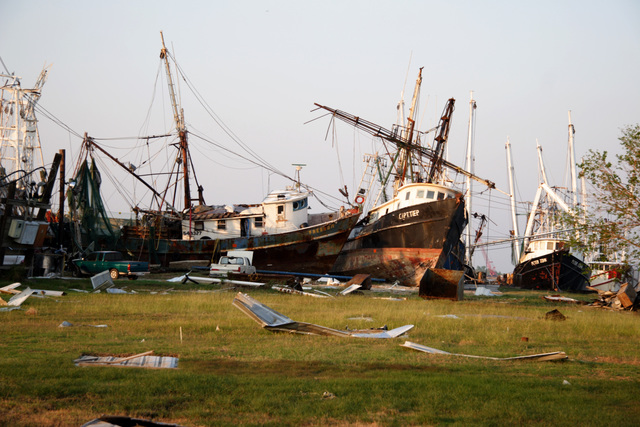 [Hurricane Rita] Sabine Pass, TX, October 18, 2005 --  Many boats of the Texas shrimp fishing fleet were seriously damaged or destroyed.  FEMA provides the initial entry to the SBA business recovery programs.  Photo by Ed Edahl/FEMA