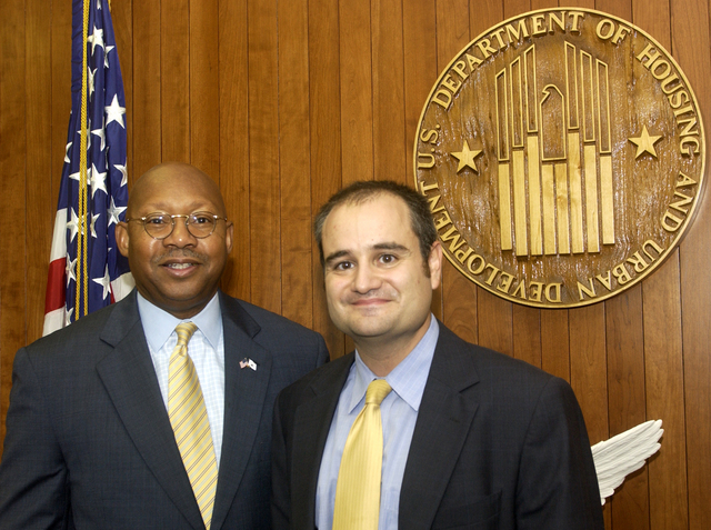 Secretary Alphonso Jackson with Len Wolfson - Secretary Alphonso Jackson meeting at HUD Headquarters with Len Wolfson, Director of Legislative Affairs in HUD's Office of Congressional and Intergovernmental Relations