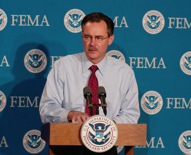 Washington, DC, October 20, 2005 -- R. David Paulison, the Acting FEMA Director reports on the activity of hurricane Wilma and ongoing preparations in Florida.  Bill Koplitz/FEMA
