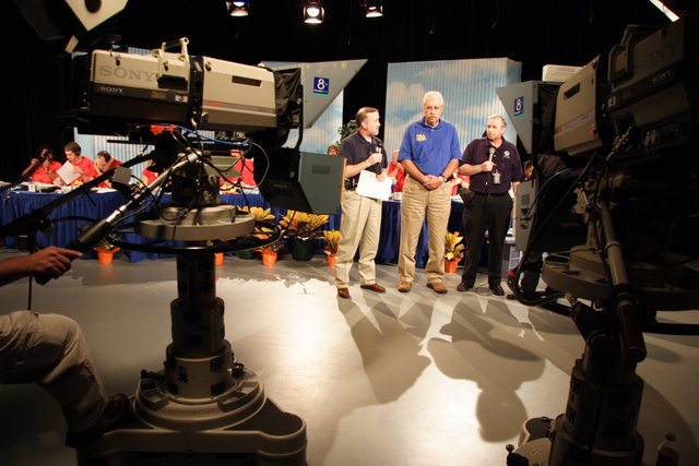 [Hurricane Rita] Port Arthur, TX, October 22, 2005 -- Dennis Lee, Senior FEMA Official, Don Fikes Senior PIO for SBA, and Charley Henderson, PIO lead, appear on Houston Public Television. FEMA personnel make themselves available for many media events.  Photo by Ed Edahl/FEMA