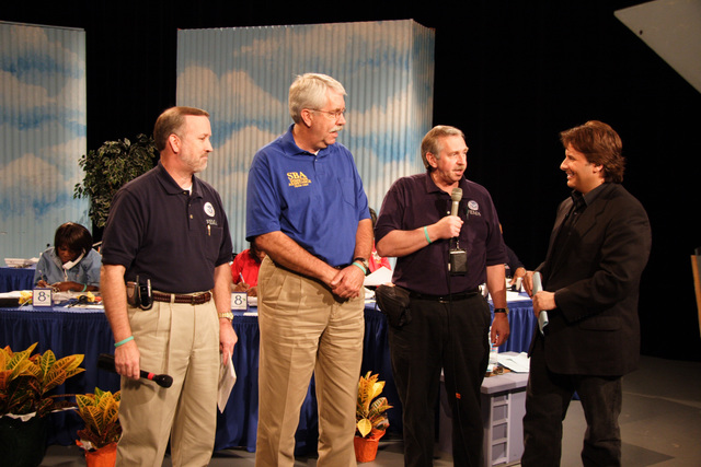 [Hurricane Rita] Port Arthur, TX, October 22, 2005- Dennis Senior FEMA Official, Don Fikes, Senior SBA PIO and Charley Henerson, PIO lead, appear on Houston Public Television.  FEMA personnel participate in many media events as part of its communication process.  Photo by Ed Edahl/FEMA