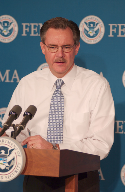 [Hurricane Wilma] Washington, DC, October 25, 2005 -- R. David Paulison, the Acting Director of FEMA, reports on the landfall of hurricane Rita in Florida and outlines FEMA's response operation in partnership with the state.  Bill Koplitz/FEMA