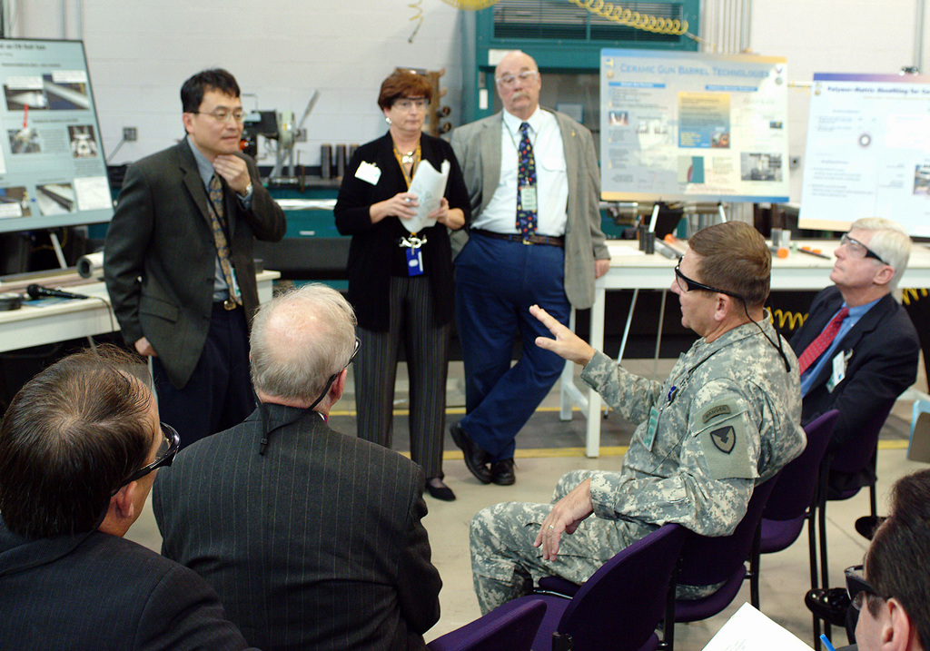 Major Gen. Roger A Nadeau, Commanding General, U.S. Army Research, Development and Engineering Command hosts a Directors meeting at the Rodman Materials Research Facility.  The instructor explains electromagnetic gun technology during the briefing.  The participants at the meeting where protective eyewear, while viewing the charts taught by the instructor of the briefing.   At the conclusion of the meeting a tour of the Facility will be conducted by the Army Research Lab scientists and engineers. (U.S. Army PHOTO by Doug LaFon) (Released)