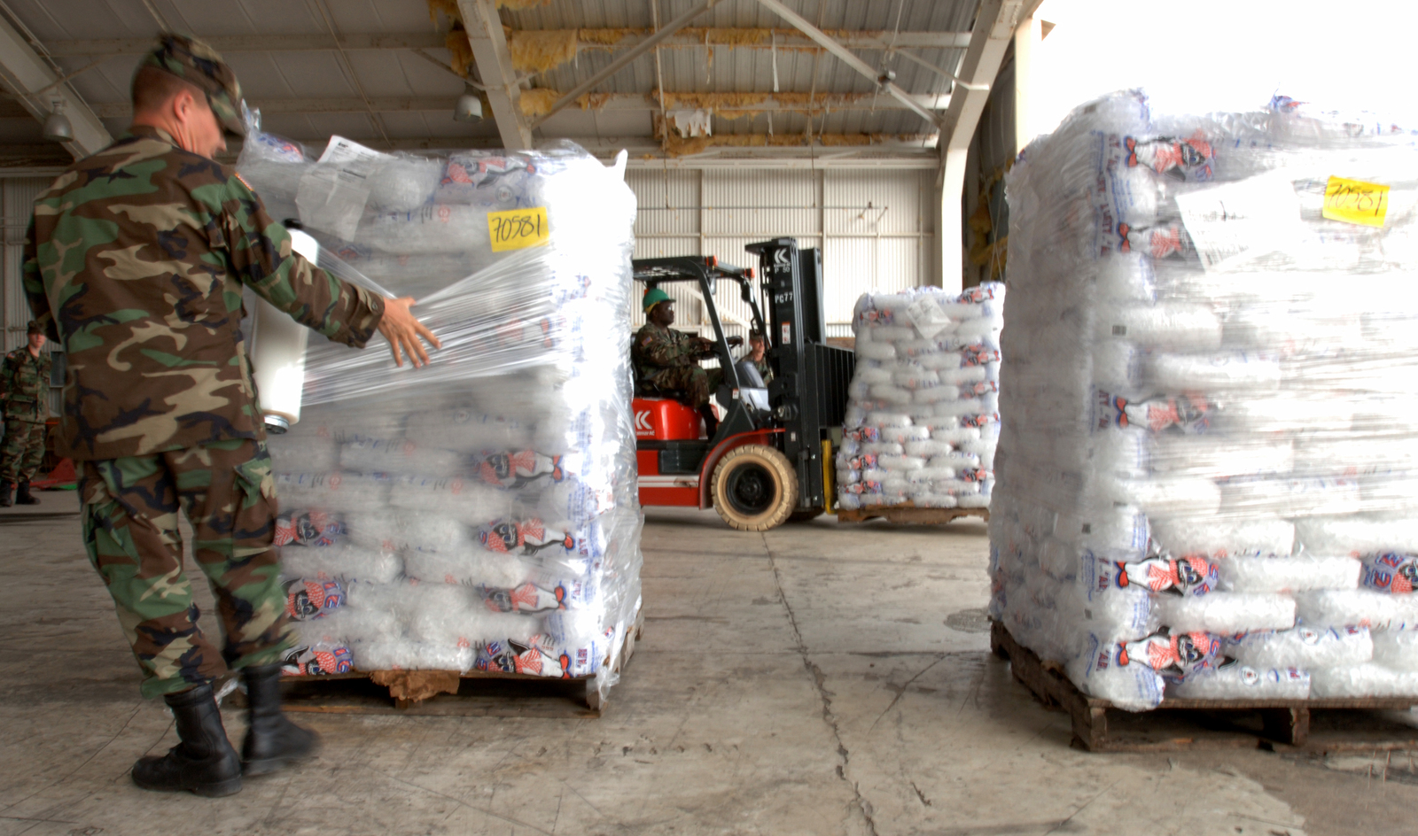 [Hurricane Wilma] Homestead, FL, October 30, 2005 -- National Guardsman, Steven Laughlin of Ocala,  wraps pallets of ice in a hanger at the Air Force Base which is being used as a staging area for both water and ice distribution for areas impacted by Hurricane Wilma.  Jocelyn Augusitno/FEMA
