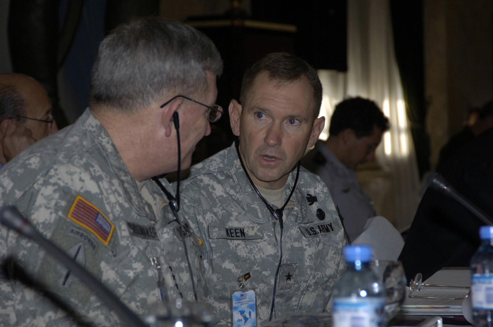 Brig. GEN. Purl K. Keen, U.S. Army South Commanding General, right, talks to GEN. Peter A. Schoomaker, CHIEF of STAFF, U.S. Army, left, during the Conference of American Armies Commander's Conference in Buenos Aires, Argentina on Nov. 3, 2005. (U.S. Army photo by Kaye Richey) (Released)