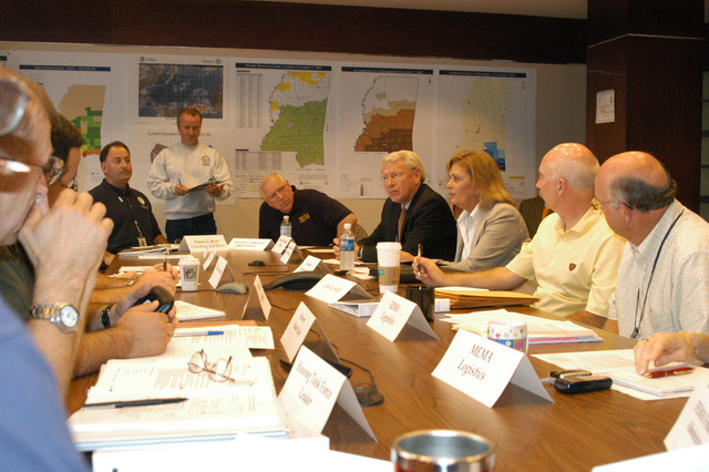 [Hurricane Katrina] Jackson, Miss., November 7, 2005 -- Mrs. Marsha D. Barbour, wife of Governor Haley R. Barbour, acts as his representative at the Jackson FEMA Joint Field Office (JFO) Strategy Meeting.  FEMA and MEMA are partners in the recovery efforts for those Mississippians impacted by Hurricane Katrina.  George Armstrong/FEMA