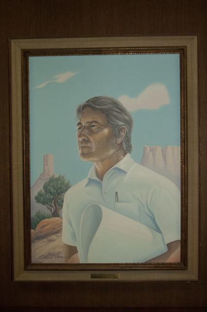 [Assignment: 48-DPA-N_Udall_Paint] Closeup of official painting of former Interior Secretary Stewart Udall [48-DPA-N_Udall_Paint_DOI_3192_TIF.jpg]