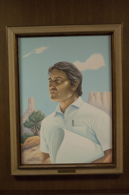 [Assignment: 48-DPA-N_Udall_Paint] Closeup of official painting of former Interior Secretary Stewart Udall [48-DPA-N_Udall_Paint_DOI_3194_TIF.jpg]