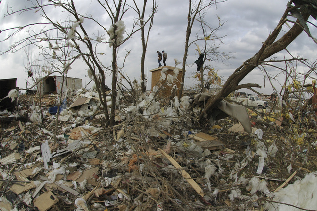 [Tornado and Severe Storms] Evansville, IN, November 8, 2005 -- This Eastbrook Mobile Home Park is heavily damaged by a Tornado. Eighteen lives were destroyed. Workers re-constructing sewage pump. Leif Skoogfors/FEMA