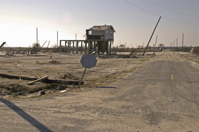 [Hurricane Rita] Johnson Bayou, LA, 11-16-05 -- This community at Johnson Bayou was almost totally leveled by the tidal surge and high winds of Hurricane Rita.  Hurricane Rita left many people homeless and as of Dec. 20, 2005 FEMA has taken 2,530,657 registrations from Hurricanes Rita and Katrina.  MARVIN NAUMAN/FEMA photo