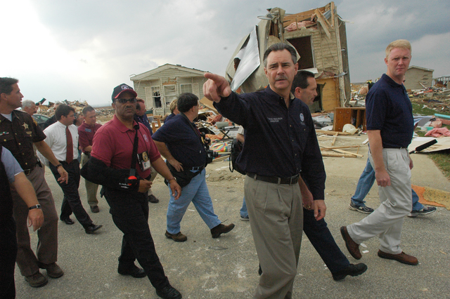 [Tornado and Severe Storms] Evansville, IN, November 9, 2005 -- Acting FEMA Director R. David Paulison tours tornado ravaged Evansville and Newberg, Indiana. Paulison praises local community efforts and volunteerisim.  Leif Skoogfors/FEMA Photo