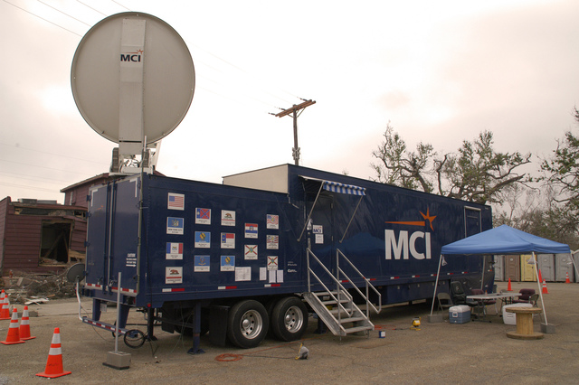 [Hurricane Rita] Cameron, LA, 11-10-05 -- A Free phone call can be made from this FEMA sponsored MCI phone/communication trailer. The FEMA sponsored MCI communication van provides phone and internet service for the whole community which is totaly without service.  MARVIN NAUMAN/FEMA photo