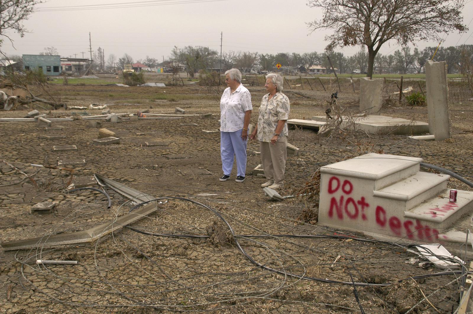 [Hurricane Rita] Cameron, LA, 11-10-05 -- Beulah Boudreaux and Hazel Preston look at the area where their home of 60 years once stood, before Hurricane Rita.  Hurricane Rita left many people homeless that are applying to FEMA for help.  MARVIN NAUMAN/FEMA photo